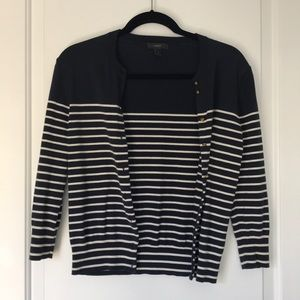 J. Crew cardigan - blue and white w anchor buttons
